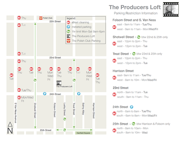 Map of parking restrictions in the neighborhood of The Producer's Loft.